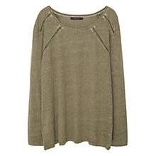 Buy Violeta by Mango Linen Trim T-Shirt, Forest Green Online at johnlewis.com
