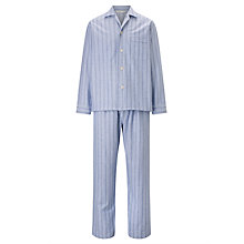 Buy Derek Rose Stripe Brushed Cotton Pyjamas, Blue/White Online at johnlewis.com
