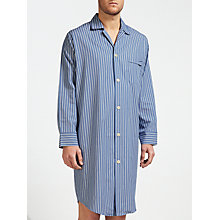 Buy Derek Rose Woven Cotton Stripe Nightshirt, Blue/White Online at johnlewis.com