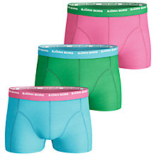 Buy Bjorn Borg Bright Contrast Waistband Trunks, Pack Of 3, Blue/Green/Pink Online at johnlewis.com