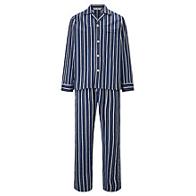 Buy Derek Rose Stripe Woven Cotton Pyjamas, Navy/Blue Online at johnlewis.com