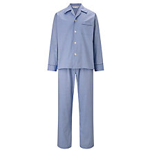 Buy Derek Rose Plain Woven Cotton Pyjamas, Blue Online at johnlewis.com