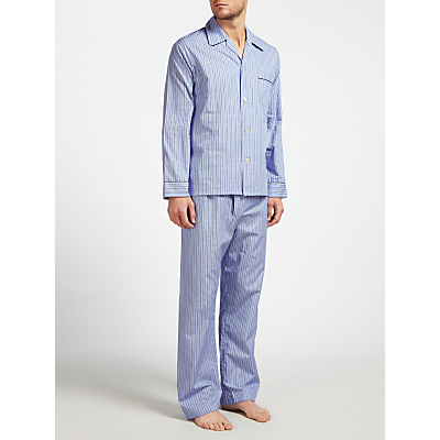 Derek Rose Stripe Woven Cotton Pyjamas, Blue/White