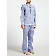 Buy Derek Rose Stripe Woven Cotton Pyjamas, Blue/White Online at johnlewis.com