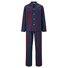 Buy Derek Rose Stripe Woven Cotton Pyjamas, Navy Online at johnlewis.com