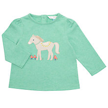 Buy John Lewis Baby Long Sleeve Pony Appliqué Top, Aqua Online at johnlewis.com