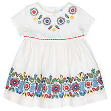 Buy John Lewis Baby Embroidered Dress, Cream Online at johnlewis.com