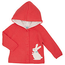 Buy John Lewis Baby Rabbit Knitted Hoodie, Red Online at johnlewis.com