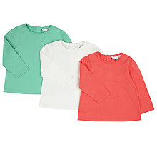 Buy John Lewis Baby Long Sleeve T-Shirt, Pack of 3, Multi Online at johnlewis.com