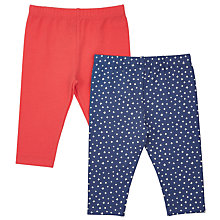 Buy John Lewis Baby Leggings, Pack of 2, Red/Navy Online at johnlewis.com