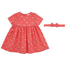 Buy John Lewis Baby Floral Print Dress and Hair Band, Red/Multi Online at johnlewis.com