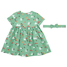 Buy John Lewis Baby Rabit Print Dress and Hair Band, Green/Multi Online at johnlewis.com