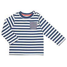 Buy John Lewis Baby Stripe Pocket Long Sleeve T-Shirt, Blue Online at johnlewis.com