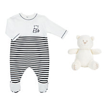 Buy Emile et Rose Baby Jim Striped Bear Sleepsuit and Hat, Navy Online at johnlewis.com