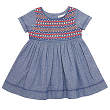 Buy John Lewis Baby Chambray Embellished Dress, Blue/Multi Online at johnlewis.com