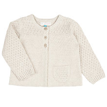 Buy John Lewis Baby Chunky Knit Cardigan, Cream Online at johnlewis.com