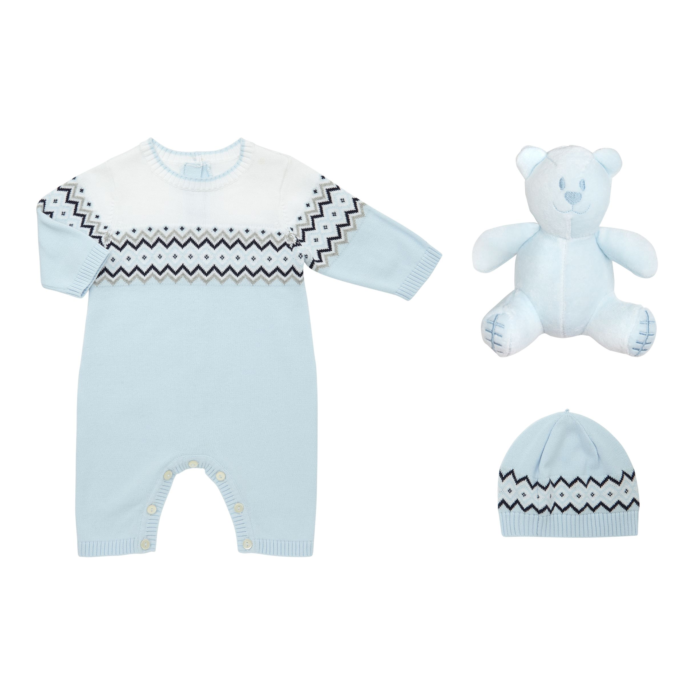 Emile et Rose Emile et Rose Baby Fair Isle Knit Romper Playsuit and Hat Set