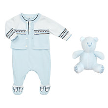 Buy Emile et Rose Justin Cardigan And Sleepsuit, Blue/White Online at johnlewis.com