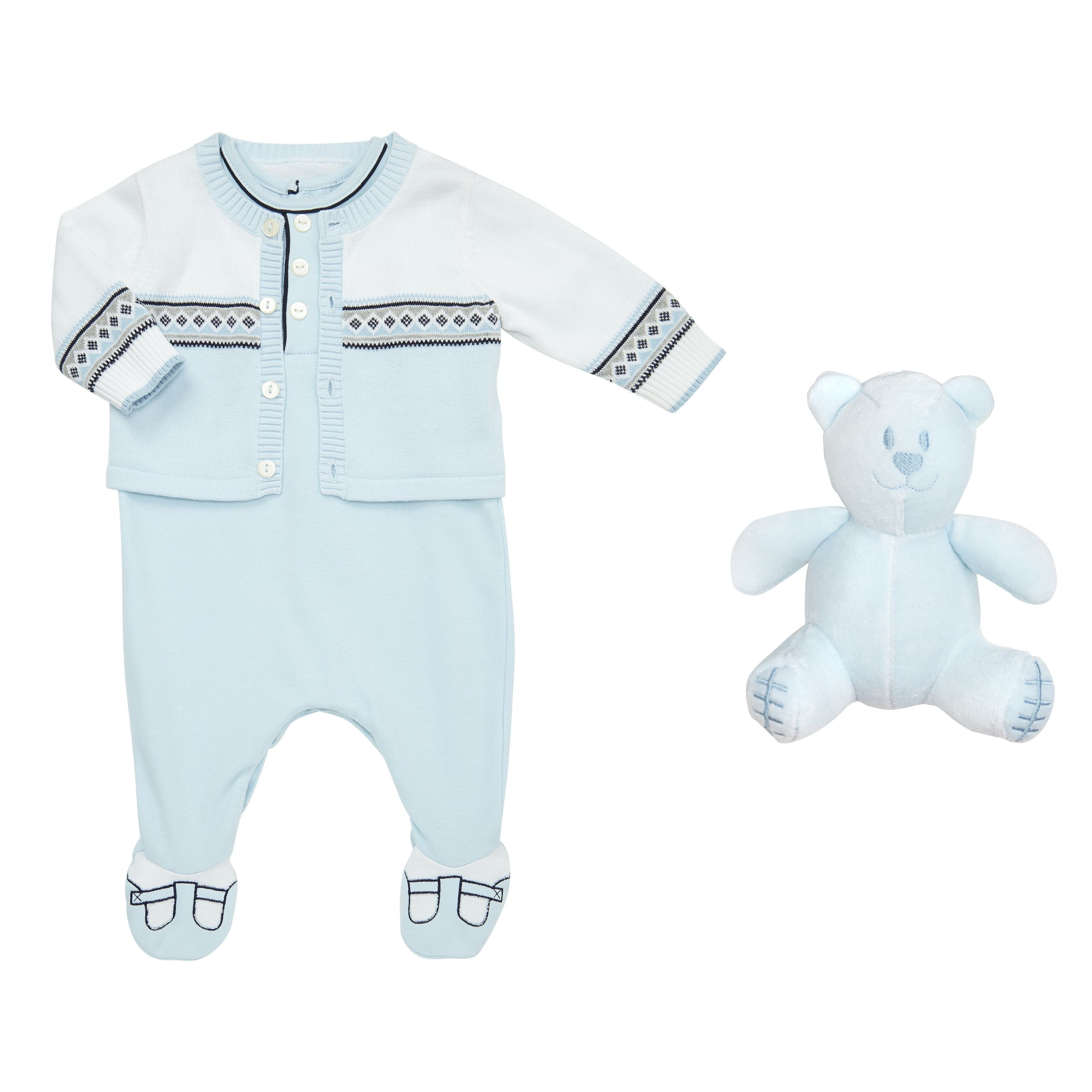 Emile et Rose Emile et Rose Justin Cardigan And Sleepsuit, Blue/White