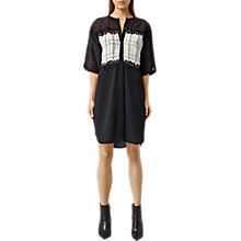 Buy AllSaints Ifaneva Embroidered Dress, Oxblood Red/Aubergine Purple Online at johnlewis.com