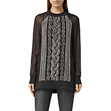Buy AllSaints Plethen Tunic Top, Jet Black Online at johnlewis.com