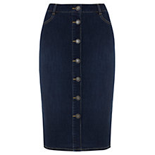 Buy Mint Velvet Denim Button Pencil Skirt, Blue Online at johnlewis.com