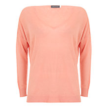 Buy Mint Velvet Sherbet V-Neck Knit Jumper, Orange Online at johnlewis.com
