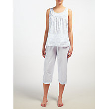 Buy John Lewis Lara Tilly Vest and Cropped Pyjama Set, Blue/Ivory Online at johnlewis.com