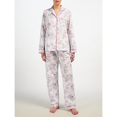 John Lewis Ella Floral Pyjama Set, Pink/Grey