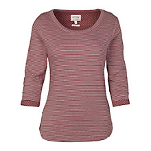 Buy Fat Face Button Detail Crew Neck Top, British Plum Online at johnlewis.com