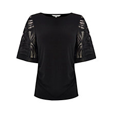 Buy Coast Rupal Lace Sleeve Top, Black Online at johnlewis.com
