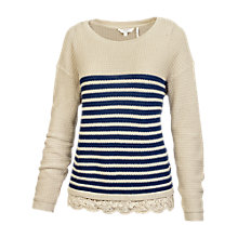 Buy Fat Face Lara Lace Trim Jumper, Ivory Online at johnlewis.com