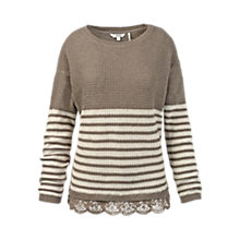 Buy Fat Face Lara Lace Trim Jumper, Moleskin Online at johnlewis.com
