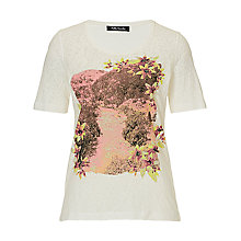Buy Betty Barclay Floral Embellished Top, Cream/Pink Online at johnlewis.com