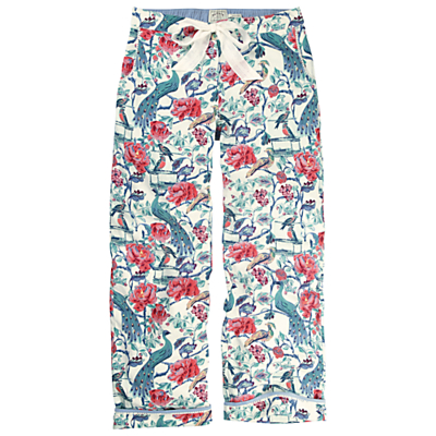 Fat Face Peacock Print Trousers, Multi