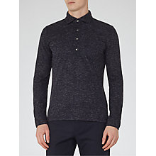 Buy Reiss Goa Mottled Long Sleeve Polo Shirt, Navy Online at johnlewis.com