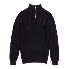 Buy Reiss Moonlight Zip Collar Cotton Jumper, Navy Online at johnlewis.com