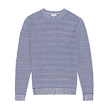 Buy Reiss Portland Contrast Stitch Cotton Jumper, Blue Online at johnlewis.com