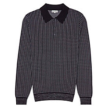 Buy Reiss Marco Contrast Check Long Sleeve Polo Shirt, Navy Online at johnlewis.com