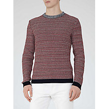 Buy Reiss Colby Patterned Weave Cotton Jumper, Red Online at johnlewis.com