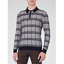 Buy Reiss Riley Contrast Check Long Sleeve Polo Shirt, Navy Online at johnlewis.com