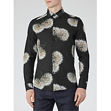 Buy Reiss Apache Dandelion Print Slim Fit Shirt, Black Online at johnlewis.com