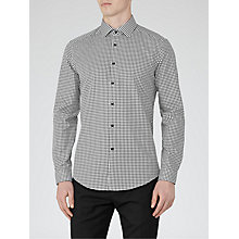 Buy Reiss Onyx Houndstooth Slim Fit Shirt, Black Online at johnlewis.com