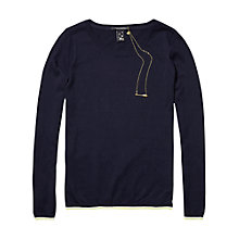 Buy Maison Scotch Stripe Trim Jumper, Navy Online at johnlewis.com