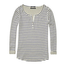 Buy Maison Scotch Stripe Bonded Grandad Sweatshirt, Cream/Navy Online at johnlewis.com