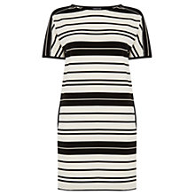 Buy Warehouse Striped Textured Rib Dress, Black/White Online at johnlewis.com