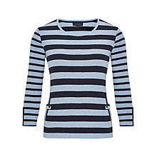 Buy Viyella Stripe Crew Neck Jersey Top, Pale Blue Online at johnlewis.com