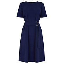 Buy Warehouse D Ring Compact Crepe Dress, Navy Online at johnlewis.com