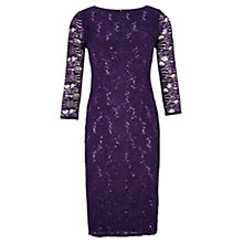 Buy Viyella Petite Lace Sequin Dress, Purple Online at johnlewis.com