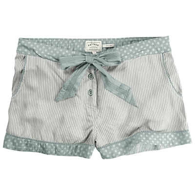 Fat Face Striped Rayon Pyjama Shorts, Grey Marl